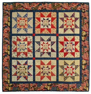Patriotic Sawtooth Star Quilt
