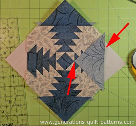 Add the outside corner patches to the Pineapple quilt block