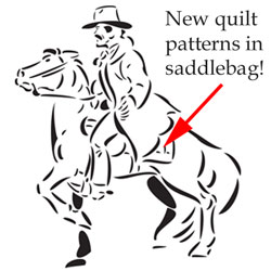 Pony express rider with new quilt patterns