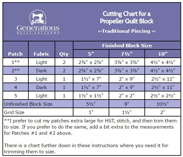 Cutting chart for Propeller quilt block