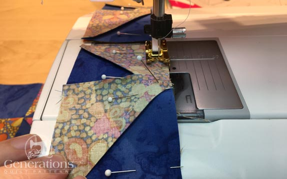 Sewing HSTs to pairs of squares