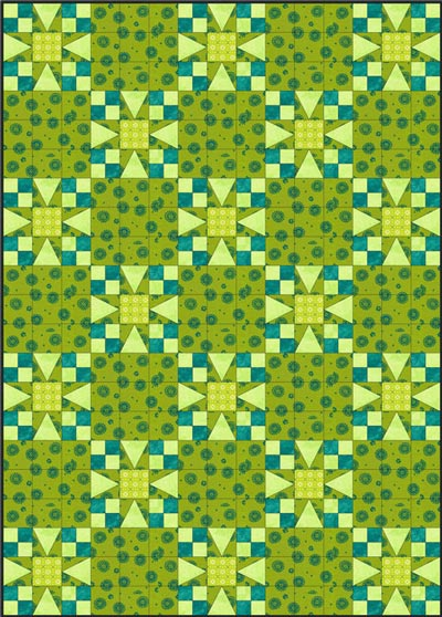 Strraight set, solid alternate block with grid quilting