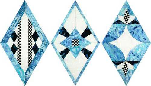 Quilted Diamond blocks by Linda Franz