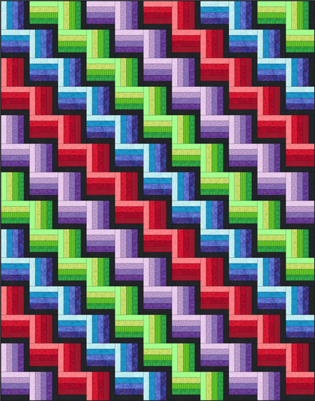 Rail Fence Quilt Pattern Designs Easy Beginner Quilt Pattern