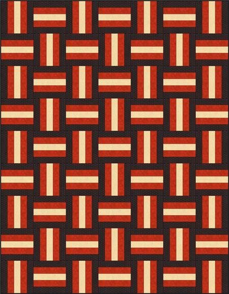 Rail fence quilt, woven strips, dark