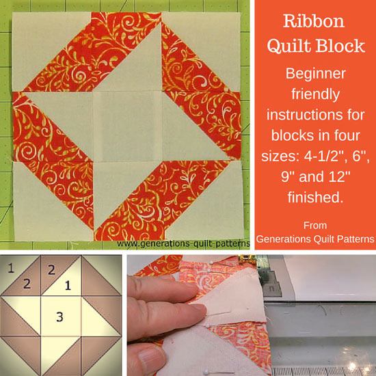 The Ribbon Quilt block tutorial starts here...