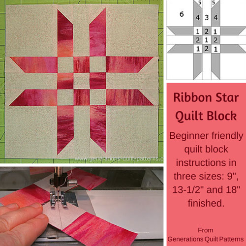 Ribbon Star quilt block tutorial