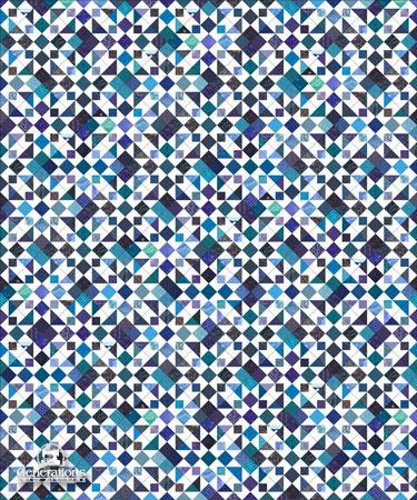 Diagonal setting in scrappy blues