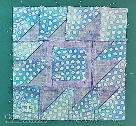 Back of finished Rocky Mountain Puzzle quilt block