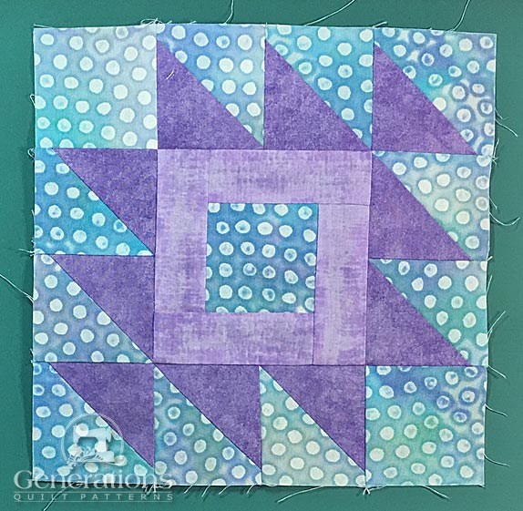 Front of finished Rocky Mountain Puzzle quilt block