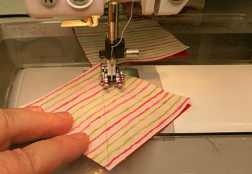 Stitch the #1/#2 pair a quarter inch from the marked line on both sides.