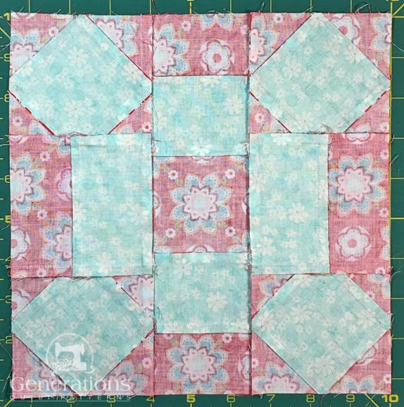 Rolling Stone quilt block - backside