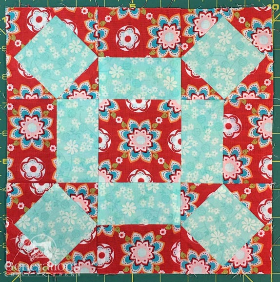 Rolling Stone quilt block front