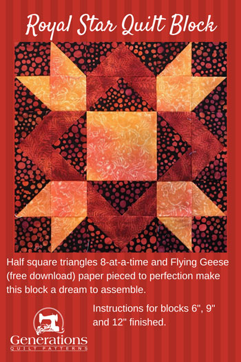 Our Royal Star quilt block is a dream to make with paper pieced Flying Geese pairs and half square triangles stitched 8-at-a-time. Step-by-step instructions.