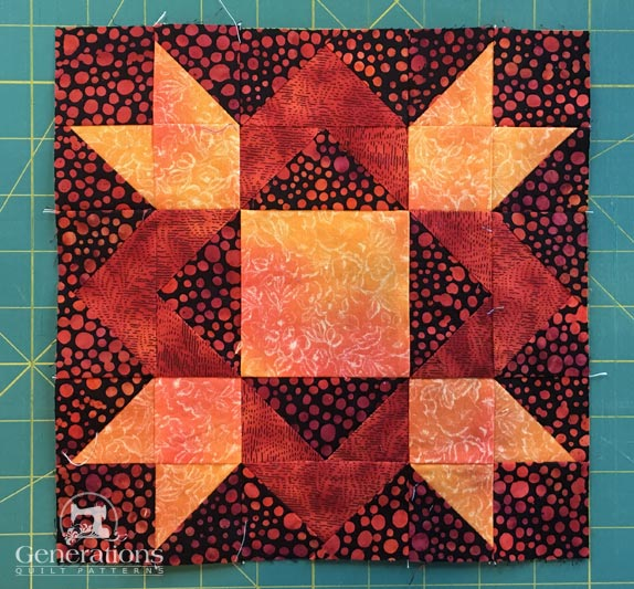 A completed Royal Star quilt block
