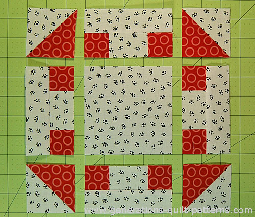 Arrange the units into rows before sewing