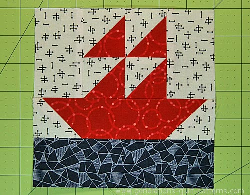 Finished Sailboat quilt block