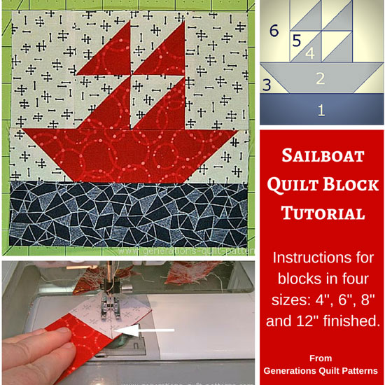 Sailboat Quilt Block Pattern 4 6 8 And 12 Sizes