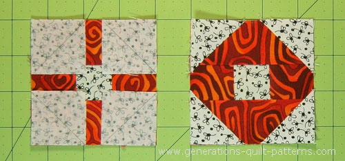 Sew the #7 squares to the O unit