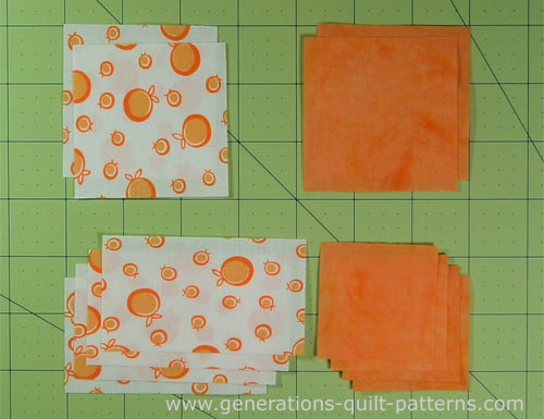 Cut patches for a Scrap Zig Zag quilt block