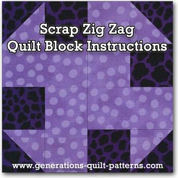 Scrap Zig Zag quilt block instructions