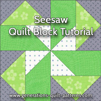 Seesaw quilt block tutorial in three sizes