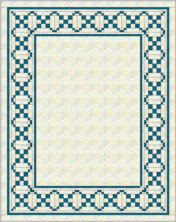 Single Chain and Knot quilt block border, variation 2