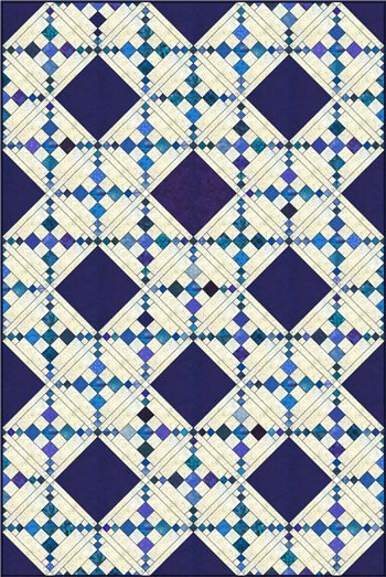 Single Chain and Knot quilt, diagonal set with sashing and partial alternate blocks
