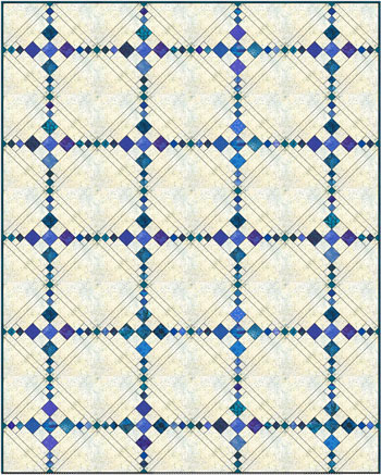 Simple Chain and Knot quilt, diagonal set with sashing and solid alternate blocks