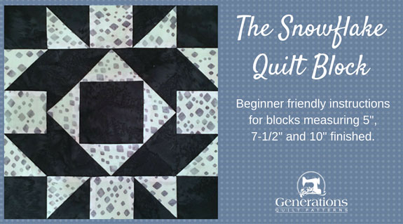 The Snowflake quilt block tutorial starts here...