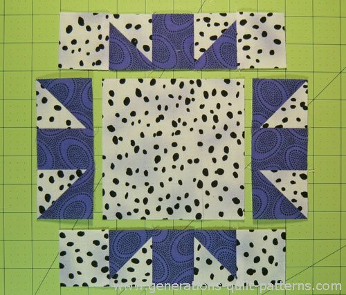 Arrange the sewn units and cut square into three rows.