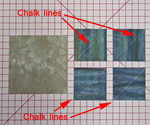 Cut your patches for the square in a square block