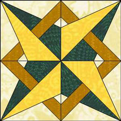Cayuga: sixteen point star block free quilt pattern
