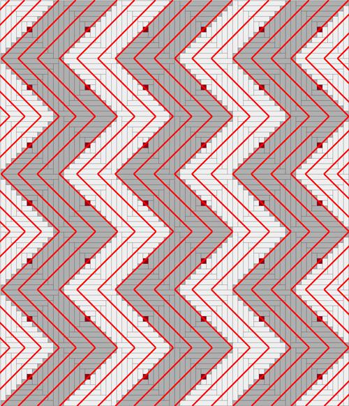 Quilting diagram for a Streak of Lightning quilt design