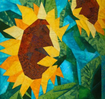 close quilts sunflower up the of quilt