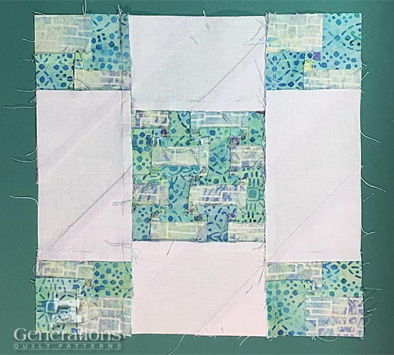 Sunny Lanes quilt block from the back side