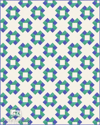 Susannah quilt, diagonal layout, wide sashings