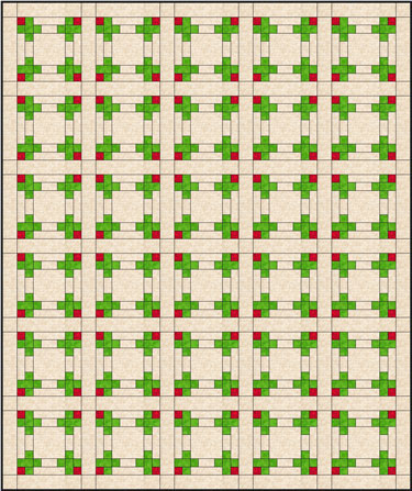 The Rosebud quilt block in a straight set with sashing