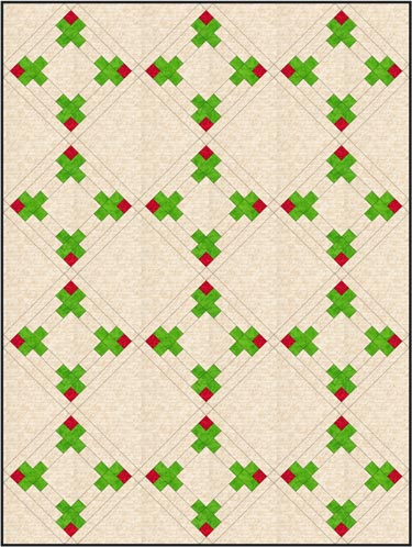 The Rosebud quilt block set on-point with a solid alternate block