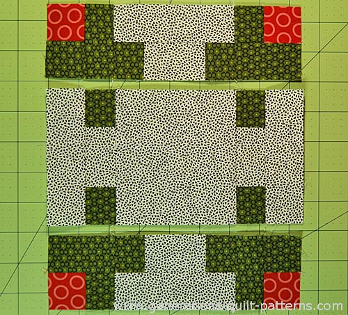 Sew the units in each row together