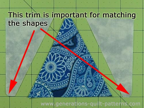 The shapes for the center and side triangles