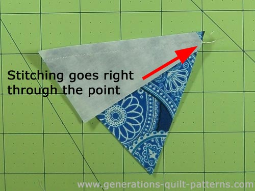 The stitching line goes right through the point of the short edge