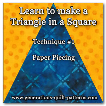 Learn to paper piece a triangle in a square quilt block