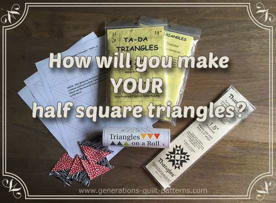Using different triangle paper options to make half square triangle units.