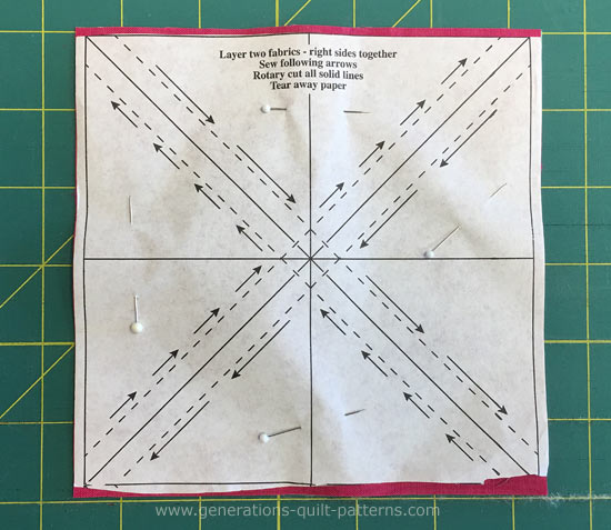 Pin the fabrics and paper pattern together