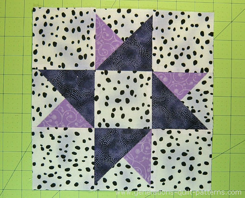 The finished Twin Star quilt block