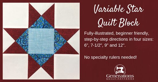The Variable Star is quick to make with just QSTs and cut squares. Beginner-friendly, fully-illustrated instructions in four sizes. Free downloadable cutting chart and a coloring page.