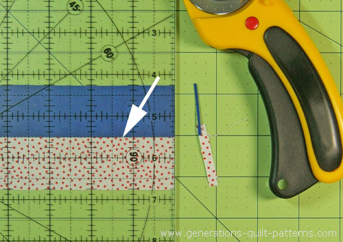 Straighten a short side of the strip set with your rotary cutter