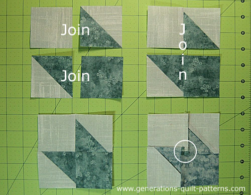 Join the HSTs and cut squares into the corner units