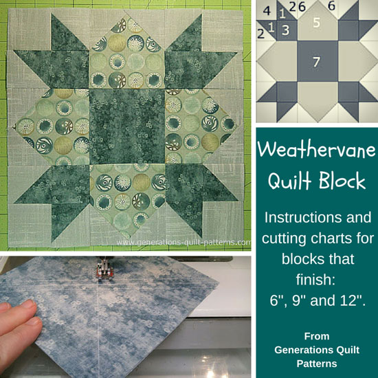 Weathervane Quilt Block 6 9 And 12 Finished
